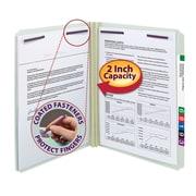 "Smead® Pressboard Fastener File Folder, 2 Fasteners, Straight-Cut Tab, 2"" Expansion, Letter Size, Gray/Green, 25/Box (14910)"