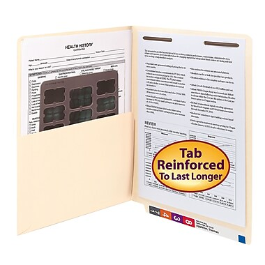 Smead® End Tab Pocket Folder with Fastener, Straight-Cut Tab, 1 Pocket, Letter Size, Manila, 50/Box (34100)