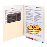 Smead® End Tab Pocket Folder with Fastener, Straight-Cut Tab, 1 Pocket, Letter Size, Manila, 50/Box (34100)