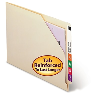 Smead® End Tab File Jacket, Shelf-Master® Reinforced Straight-Cut Tab, Letter Size, Manila, 100/Box (75700)