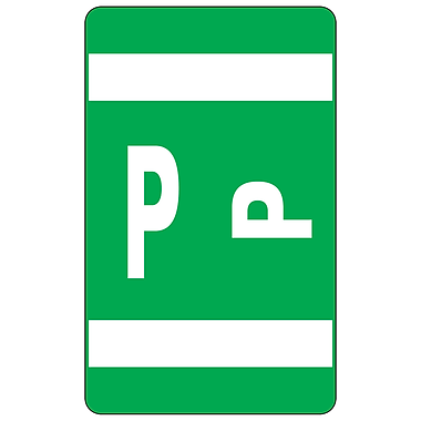 Smead Alpha-Z Color-Coded Alphabetical Labels Second Letter Package Set P, Dark Green