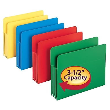 Smead® Poly File Pocket, Straight-Cut Tab, 3-1/2in. Expansion, Letter Size, Assorted Colors, 4/Box (73500)