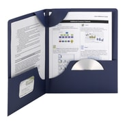 Lockit® 87970 Two-Pocket Folders in Linen Stock, Dark Blue