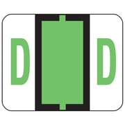 Smead® BCCR Bar-Style Color-Coded Alphabetic Label, D, Label Roll, Light Green, 500 labels/Roll, (67074)