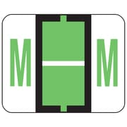 Smead® BCCR Bar-Style Color-Coded Alphabetic Label, M, Label Roll, Light Green, 500 labels/Roll, (67083)