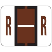 Smead® BCCR Bar-Style Color-Coded Alphabetic Label, R, Label Roll, Brown, 500 labels/Roll, (67088)