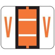 Smead®  BCCR Bar-Style Color-Coded Alphabetic Label, V, Label Roll, Dark Orange, 500 labels per Roll, (67092)