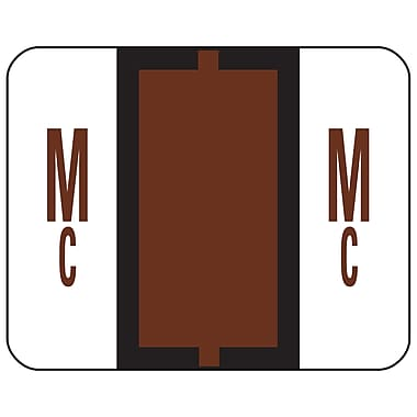 Smead® BCCR Bar-Style Color-Coded Alphabetic Label, Mc, Label Roll, Brown, 500 labels per Roll, (67097)