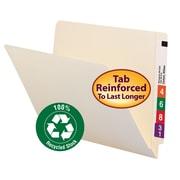 Smead® End Tab 100% Recycled File Folder, Shelf-Master® Reinforced Straight-Cut Tab, Letter Size, Manila, 100/Box (24160)