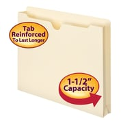 "Smead® File Jacket, Reinforced Straight-Cut Tab, 1-1/2"" Expansion, Letter Size, Manila, 50/Box (75540)"