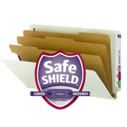 Smead® End Tab Pressboard Classification Folder with SafeSHIELD® Fasteners, Legal, Gray/Green 10/Box (29820)