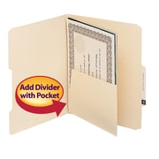 Smead® Manila Self-Adhesive Folder Divider with Pockets, Letter Size, Manila, 25/Pack (68030)