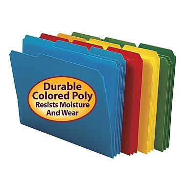 Smead® Poly File Folder, 1/3-Cut- Tab Letter Size, Assorted Colors, 24/Box (10500)