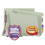 "Smead®  End Tab Psbd Fastener Folder with SafeSHIELD®, 2 Fasteners, 3"" Expansion, Legal Size, Gray/Green, 25 per Box (37725)"