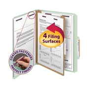 Smead® End Tab Pressboard Classification File Folder with SafeSHIELD® Fasteners 1 Partition, Letter Size, 10/Box (13776)