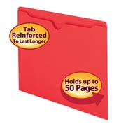 Smead® File Jacket, Reinforced Straight-Cut Tab, Flat-No Expansion, Letter Size, Red, 100/Box (75509)