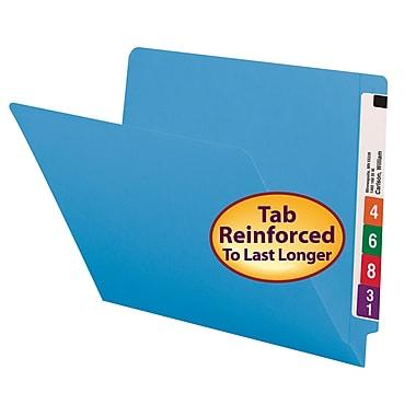 Smead® Colored End Tab File Folder, Shelf-Master® Reinforced Straight-Cut Tab, Letter Size, Blue, 100/Box (25010)