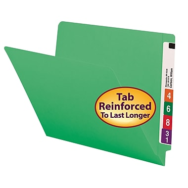 Smead® Colored End Tab File Folder, Shelf-Master® Reinforced Straight-Cut Tab, Letter Size, Green, 100/Box (25110)