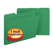 "Smead® Pressboard File Folder, 1/3-Cut Tab, 1"" Expansion, Letter Size, Green, 25/Box (21546)"