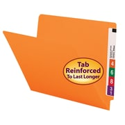 Smead® Colored End Tab File Folder, Shelf-Master® Reinforced Straight-Cut Tab, Letter Size, Orange, 100/Box (25510)