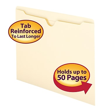 Smead® File Jacket Flat-No Expansion Reinforced Straight-Cut Tab, Letter Size, Manila, 100/Box (75500)