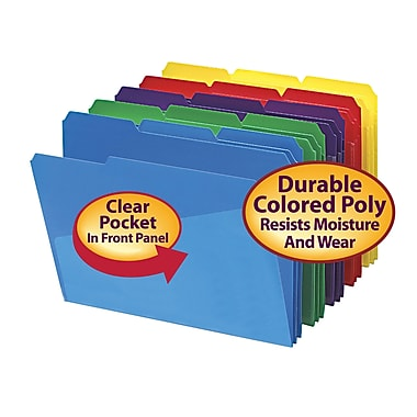 Smead® 3 Tab Poly File Folder with Slash Pocket Letter Size Assorted Colors 30/Box (10540)