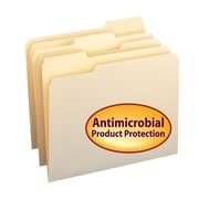 Smead® File Folder with Antimicrobial Product Protection, 1/3-Cut Tab, Letter Size, Manila, 100/Box (10338)