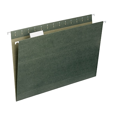 Smead® Hanging File Folder with Tab, 1/5- Cut Adjustable Tab, Legal Size, Standard Green, 25/Box (64155)