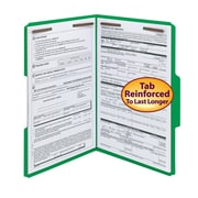 Smead® Fastener File Folder, 2 Fasteners, Reinforced 1/3-Cut Tab, Legal Size, Green, 50/Box (17140)
