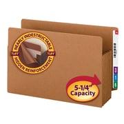 Smead® End Tab TUFF® File Pocket, Reinforced Straight Tab, 5.25 Expansion, Tyvek® Gusset, XL Legal, Redrope, 10/Box (74790)