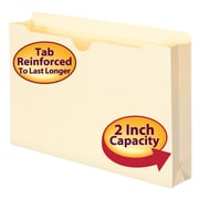 "Smead® File Jacket, Reinforced Tab, 2"" Expansion, Legal Size, Manila, 50/Box (76560)"