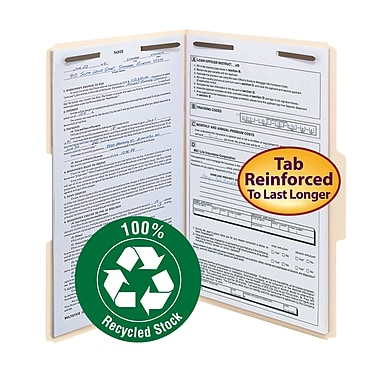 Smead® 100% Recycled Fastener File Folder, 2 Fasteners, Reinforced 1/3-Cut Tab, Legal Size, Manila, 50/Box (19547)