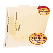 Smead® Fastener File Folder, 2 Fasteners, Reinforced 2/5-Cut Tab Right Of Center Position, Letter, Manila, 50/Box (14580)