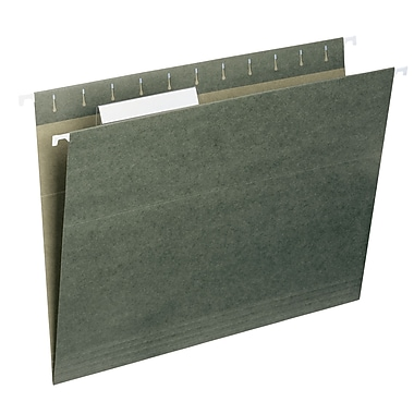Smead® Hanging File Folder with Tab, 1/3-Cut Adjustable Tab, Letter Size, Standard Green, 25/Box (64035)
