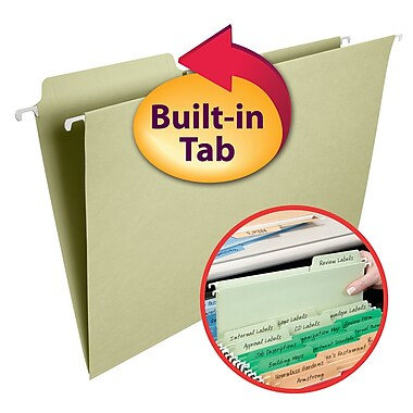 Smead® FasTab® Hanging File Folder, 1/3- Cut Built-In Tab, Legal Size, Moss, 20/Box (64083)