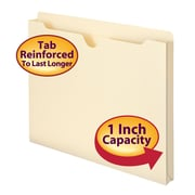 "Smead® File Jacket, Reinforced Straight-Cut Tab, 1"" Expansion, Letter Size, Manila, 50/Box (75520)"