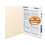 Smead® Fastener File Folder, 1 Fastener, Reinforced Straight-Cut Tab, Letter, Manila, 50/Box (14510)