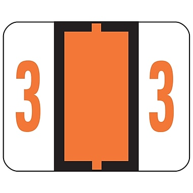 Smead® BCCRN Bar-Style Color-Coded Numeric Label, 3, Label Roll, Dark Orange, 500 labels/Roll (67373)