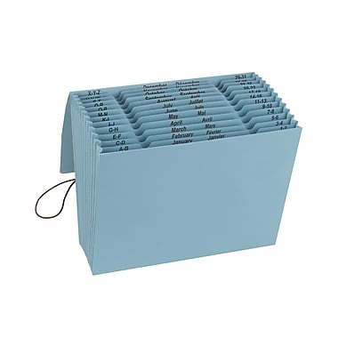 Smead® 100% Recycled Expanding File, Multi-Index (A-Z, Jan-Dec and Daily), 12 Pockets, Flap & Cord, Letter, Blue Moon (70779)