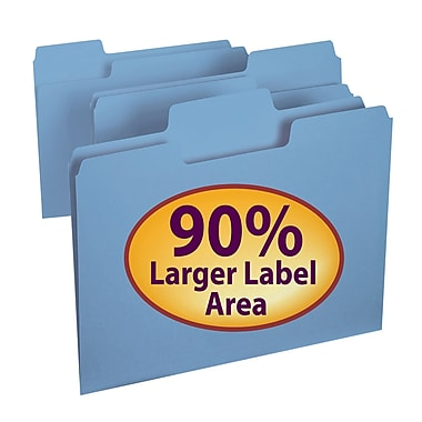 Smead® SuperTab® File Folder, Oversized 1/3-Cut Tab, Letter Size, Blue, 100/Box (11986)