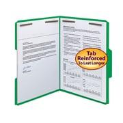 Smead® Fastener File Folder, 2 Fasteners, Reinforced 1/3-Cut Tab, Letter Size, Green, 50/Box (12140)