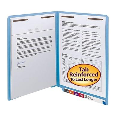 Smead® End Tab Fastener File Folder, Shelf-Master® Reinforced Straight-Cut Tab, 2 Fasteners, Letter, Blue, 50/Box (25040)