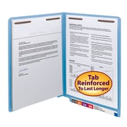 Smead® End Tab Fastener File Folder, Shelf-Master® Reinforced Straight-Cut Tab, 2 Fasteners, Letter, Blue, 50/Box (25040)