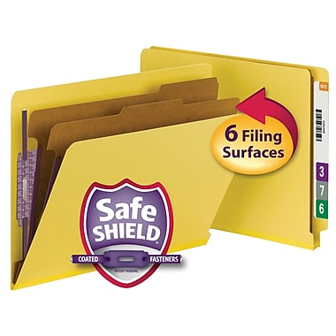 Smead® End Tab Pressboard Classification File Folder with SafeSHIELD®, Letter, Yellow, 10/Box (26789)