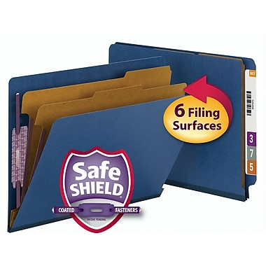 Smead® End Tab Pressboard Classification File Folder with SafeSHIELD®, Letter, Dark Blue, 10/Box (26784)