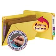 Smead® End Tab Pressboard Classification File Folder with SafeSHIELD®, Legal, Yellow, 10/Box (29789)