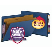 Smead® End Tab Pressboard Classification File Folder with SafeSHIELD®, Legal, Dark Blue, 10/Box (29784)