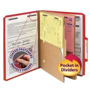 "Smead® Pressboard Classification Folder w/ Pocket Divider, SafeSHIELD® Fasteners, 2"" Exp., Letter, Bright Red, 10/Box (14082)"