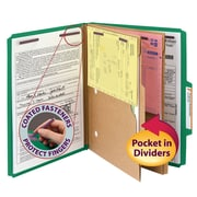 "Smead® Pressboard Classification Folder w/ Pocket Divider, SafeSHIELD® Fasteners, 2"" Exp., Letter, Green, 10/Box (14083)"