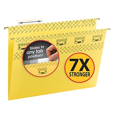Smead® TUFF® Hanging File Folder with Easy Slide™ Tab, 1/3-Cut Sliding Tab, Letter Size, Yellow, 18 per Box (64044)